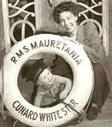 the late Helen Grant Hitchon and her son Alan on board the RMS Mauretania II, on February 5, 1946.